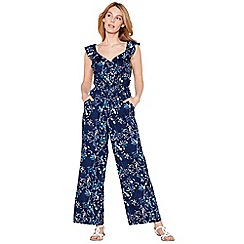 Mantaray - Navy floral print V-neck sleeveless wide leg jumpsuit