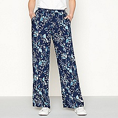 Mantaray - Navy palm print loose fit palazzo trousers