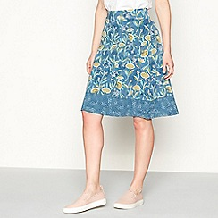 Mantaray - Dark blue floral leaf print knee length jersey skirt