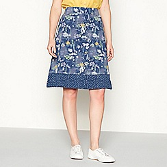 Mantaray - Navy floral print knee length jersey skirt