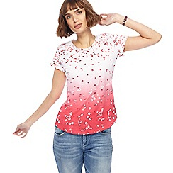 Mantaray - White and pink ombre floral print top
