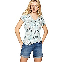 Mantaray - Light turquoise poppy print top