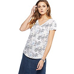 Mantaray - White poppy print top