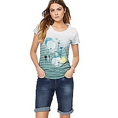 Mantaray - Light turquoise ombre-effect striped top