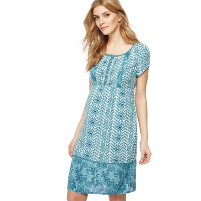 Mantaray   Light Turquoise Chevron Print Knee Length Dress by Mantaray