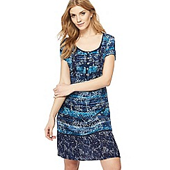 Mantaray - Navy tree print knee length dress