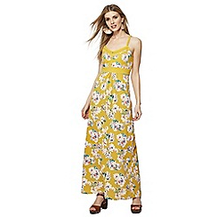 Mantaray - Dark yellow floral print V-neck maxi dress