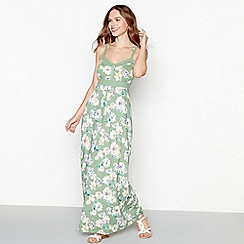 Mantaray - Light green floral print V-neck maxi dress