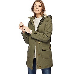 Mantaray - Khaki faux fur lined parka