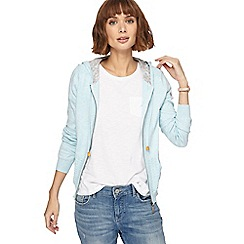 Mantaray - Pale blue knitted hooded cardigan