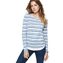 Mantaray - Blue striped mock side button jumper