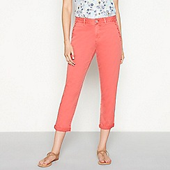 Mantaray - Peach embroidered 'Girlfriend' regular fit cropped chino trousers