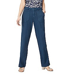 Mantaray - Navy linen blend wide leg trousers