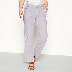 Mantaray - Light purple embroidered linen loose fit trousers