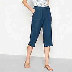 Mantaray - Navy linen blend cropped trousers