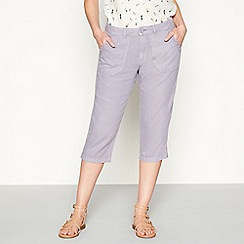 Mantaray - Light purple embroidered linen loose fit cropped trousers