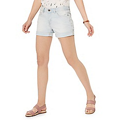 Mantaray - Mid blue stripe light wash denim shorts