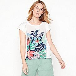 Mantaray - White floral print cotton t-shirt