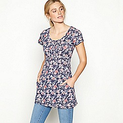 Mantaray - Navy floral print cotton short sleeve tunic top