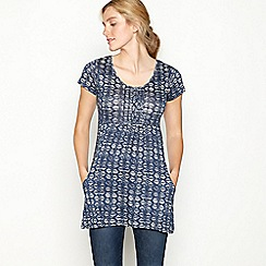 Mantaray - Navy geometric tile print cotton short sleeve tunic top