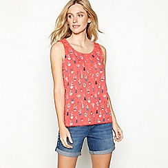 Mantaray - Red cactus print cotton vest top