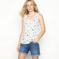 Mantaray - White cactus print cotton vest top