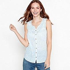 Mantaray - White dot dash cotton sleeveless top