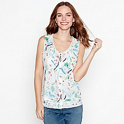 Mantaray - White floral print cotton V-neck sleeveless top