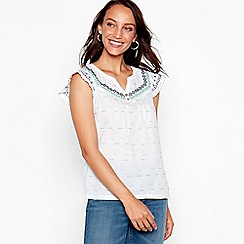 Mantaray - White embroidered lace cotton V-neck short sleeve blouse