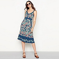 Mantaray - Navy floral print cotton V-neck midi length dress