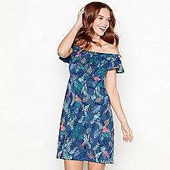 Mantaray - Blue leaf and bird print cottonBardot neck knee length dress