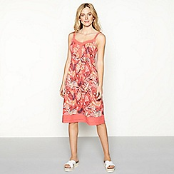Mantaray - Peach leaf print cotton V-neck knee length dress