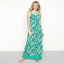 Mantaray - Green leaf print cotton V-neck full length maxi dress