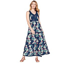 Mantaray - Navy parrot print crochet V-neck maxi dress