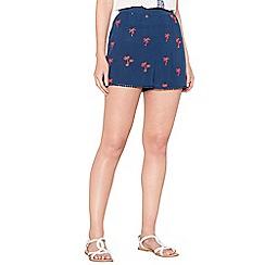 Mantaray - Navy embroidered palm tree high waist shorts