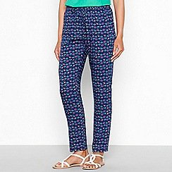 Mantaray - Blue floral print tapered trousers