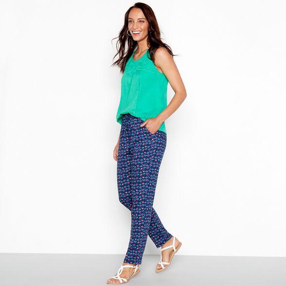 tapered print Blue floral trousers Mantaray tqxRC8nn