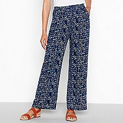 Mantaray - Blue diamond print loose fit palazzo trousers