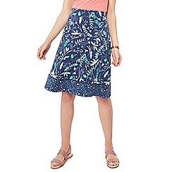 Mantaray - Navy leaf print knee length jersey skirt