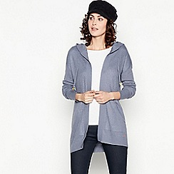 Mantaray - Blue Hooded Edge to Edge Cardigan