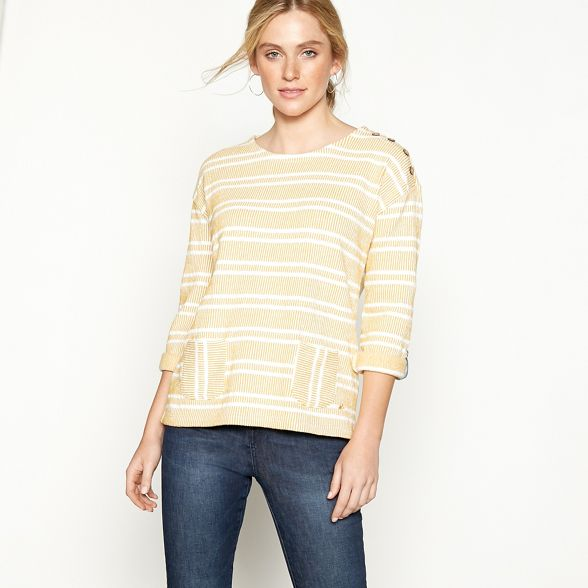 Mantaray textured sweater cotton stripe yellow Mustard blend F1nFqZW