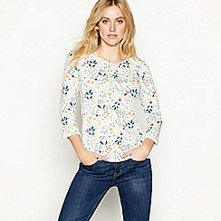 Mantaray - White floral print cotton long sleeve top