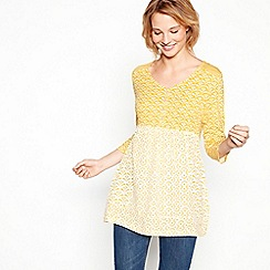 Mantaray - Mustard patchwork tile print cotton V-neck top