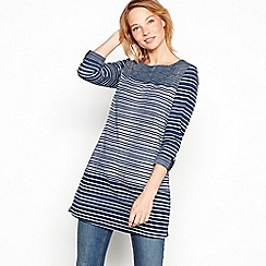 Mantaray - Navy stripe print cotton tunic top
