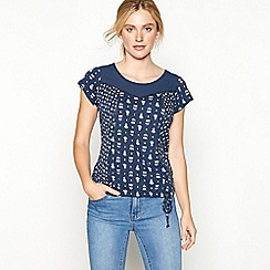 Mantaray - Navy tulip print cotton short sleeve bubble hem top