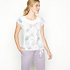 Mantaray - White forest print cotton short sleeve bubble hem top