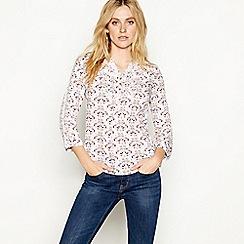 Mantaray - White peacock print long sleeve blouse