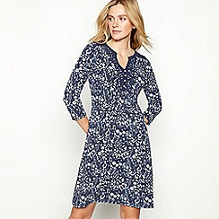 Mantaray - Navy floral leaf print cotton blend mini length dress