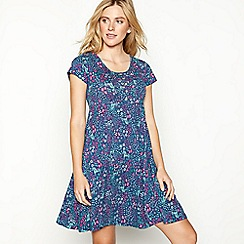 Mantaray - Navy floral print cotton short sleeve mini skater dress