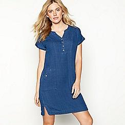Mantaray - Blue check cotton short sleeve tunic dress